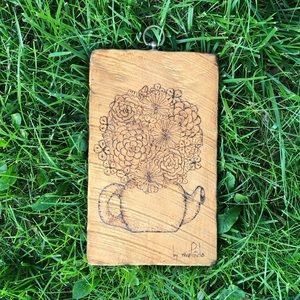 Other - Floral teapot wooden plaque